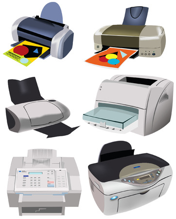 pc case: A collection of 6 different printers vector illustration