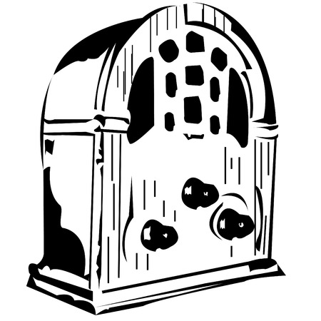 Vector black and white illustration of an old radio