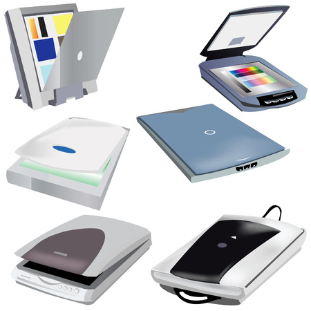 pc icon: A collection of 6 different scanners vector illustration images
