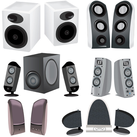 A collection of 6 different computer speakers vector illustration image Vector