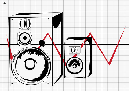grooves: Vector illustration of two loudspeakers in transparent boxes, with little db (means decibels) on left of page, and with oscilloscope visualization on background.
