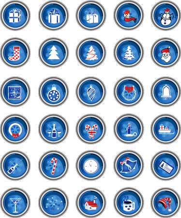buttons with winter theme Vector