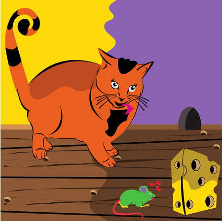 Vector illustration of a staring at the mouse whose looking at the peace of cheese. Vector
