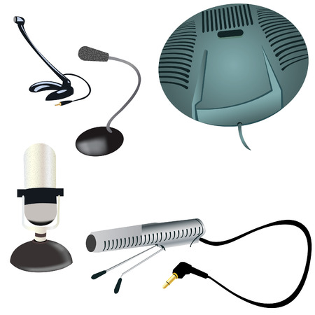 Collection of illustrations of 5 different computer microphones Vector
