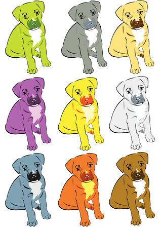 Vector illustration of a dog in nine different color sets Vector