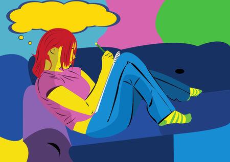 whose: Vector illustration giovane ragazza cui disegno