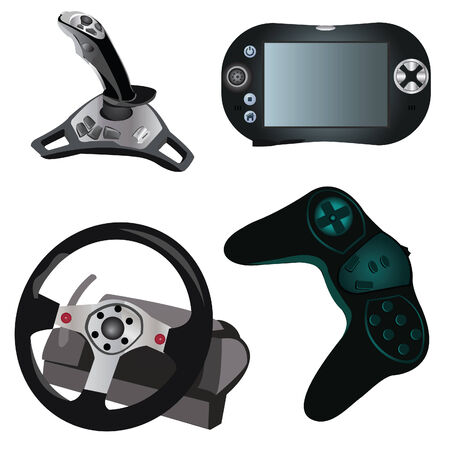 Collection of 4 different pieces of devices for computer video game Stock Vector - 5237783