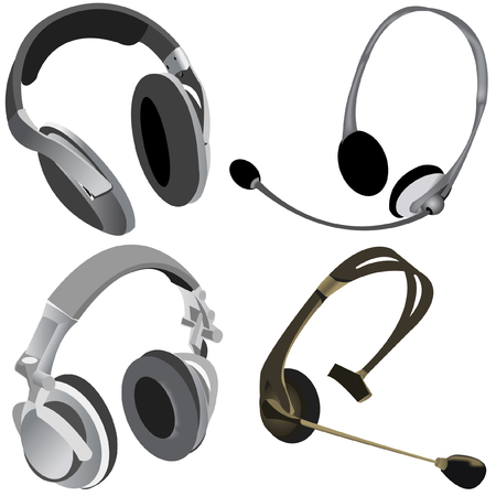 Collection of 4 illustrations of different computer headphones isolated on white background Stock Vector - 5237766