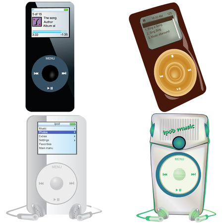 portable audio: Collection of 4 illustrations of different MP3 players isolated on white background