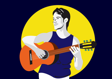 Vector illustration of a young man playing a guitar Vector