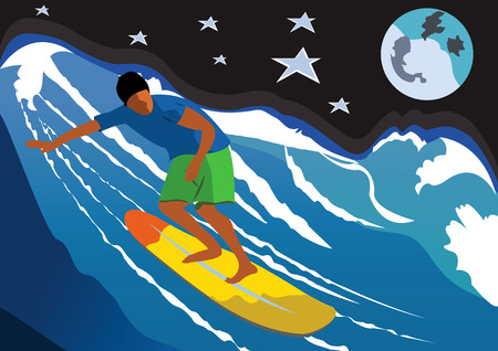 Illustration of a night surfer on a big wave, with full moon and stars in background.