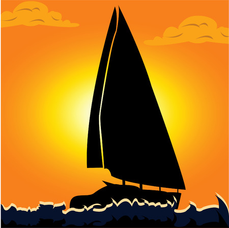 Vector illustration of a silhouette of a sailboat on the open sea. Vector