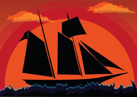 Sailboat on sunset on a open sea. Vector