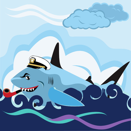 Vector illustration of a shark with a captains hat and a pipe Vector