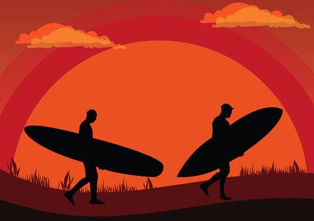 whose: Illustrazione vettoriale di due surfisti tramonto cui camminare cura i piatti surf