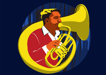 Closeup Illustration of young man playing a trumpet on stage Vector