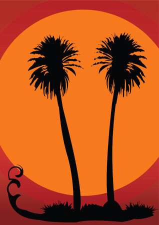 Vector illustration of two palms on tropical sunset complete editable Vector