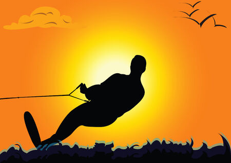 water  skier: Vector illustration of a silhouette of a water skier on sunset
