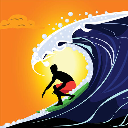surf board: Ilustraci�n abstracta de un surfista de web adecuado para promociones de sitios web de logotipo etc..  Vectores
