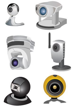 peripherals: web computer cameras isolated on white background
