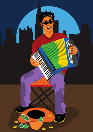 virtuoso: Vector illustration of a man sitting outside playing accordion and singing with his cowboy hat in front of him