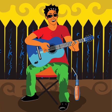 Vector illustration of a young man sitting outdoors playing the guitar with a juice beside him. Vector