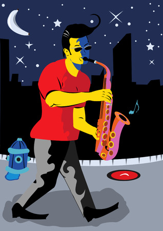 Vector illustration of a young man walking on the street at night playing the saxophone Vector