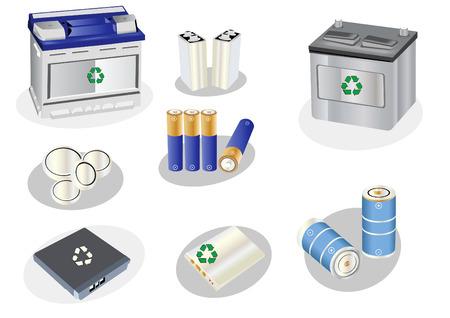 recarga: Vector ilustraci�n de diferentes tipos de pilas