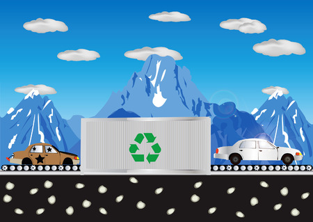 Abstract vector illustration of a car recycling process with mountains in background and clear sky Stock Vector - 5263968