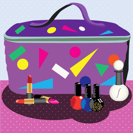 vanity: Vector illustration of a cosmetic bag in front of lipsticks nail polishes and a parfume