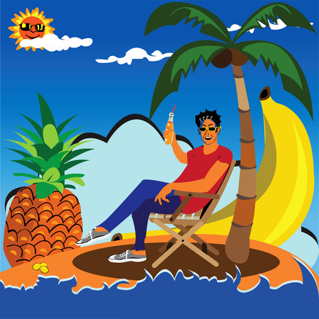 Vector illustration of a young man cheers with a juice on lonely island surrounded by a palm pineapple banana and small lemons.  Vector