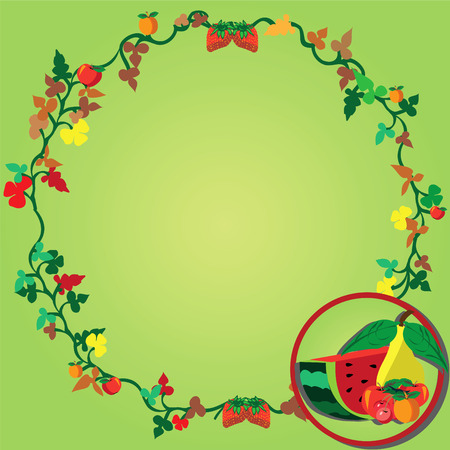 Vector illustration of a wreath and fruits on the right corner Vector