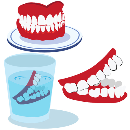 novelty: Funny vector illustration of three teeth isolated on white background