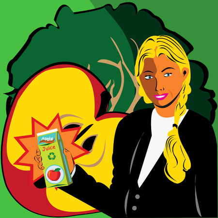 Girl Holding Apple Juice Vector
