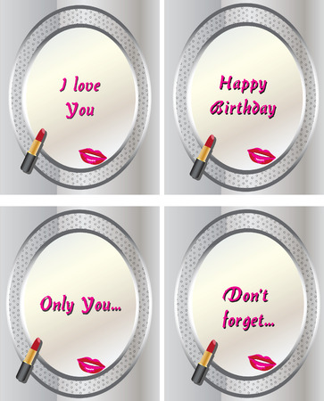 cheek: Vector illustration of mirrors with different text on it with a lipstick
