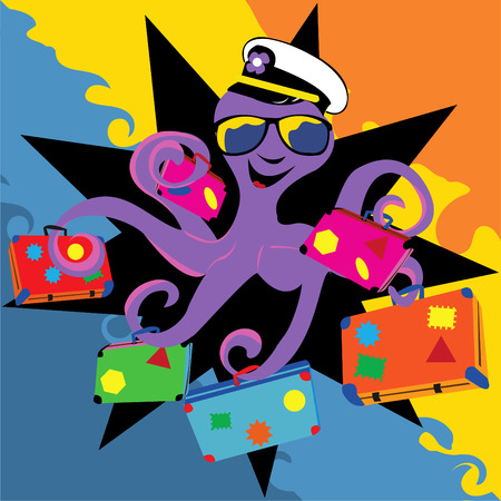 Abstract vector illustration of a smiling octopus with his sunglasses and a captain hat holding suitcases. Vector