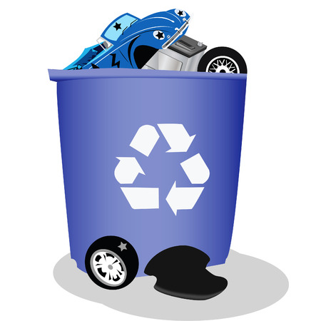 recycle symbol vector: Fun vector illustration of a large recycle bin filled with cars and car parts Illustration