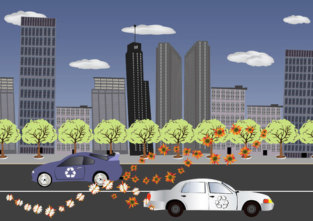 Abstract vector illustration of a city with recycled wheels. The cars instead of harmful Co2 produce flowers! Stock Vector - 5346071