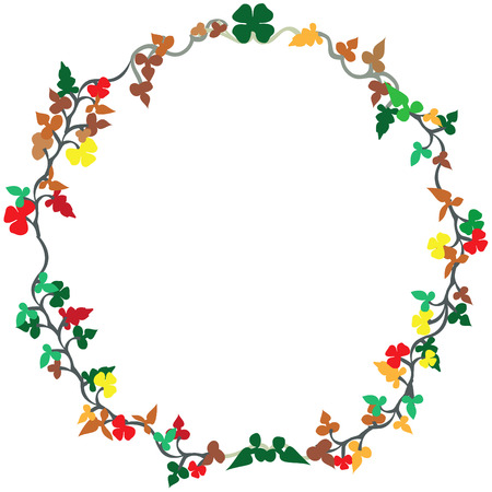 wreath vector: Floral vector illustration of a wreath isolated on white background