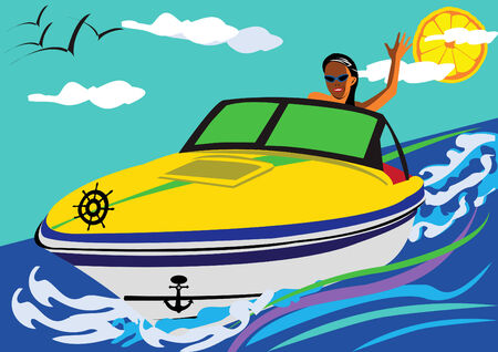 canotaje: ni�a, conducci�n de un barco de motor