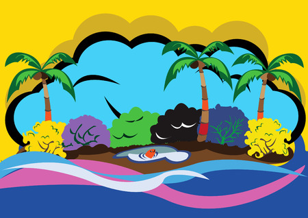 Vector illustration of a beautiful lonely island in a pop-art style Vector