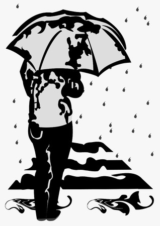 Grey scale Vector illustration of a young girl under umbrella in front of pedestrian-crossing and it's raining Stock Vector - 5346046