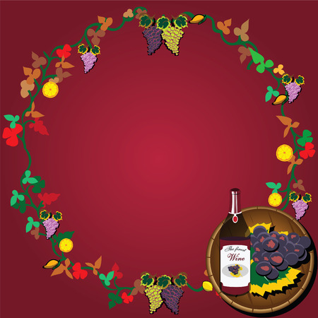 Vector illustration of wine wreath with grapes and a barrel Vector