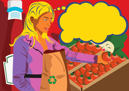 young women at the shop holding a tomato and with a bottle of ketchup in background of the image Vector