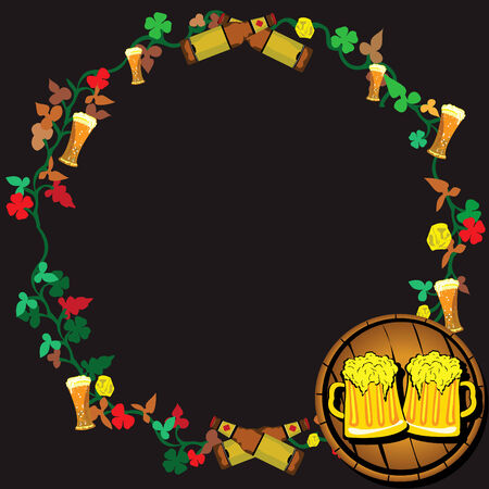 Vector illustration of a beer wreath with two paints on a barrel Stock Vector - 5366806