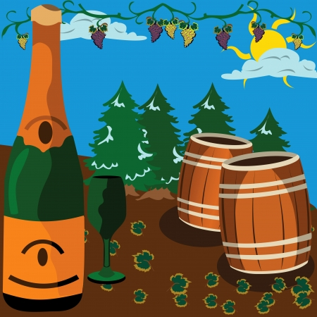 Bottle of wine a glass and barrels. With trees and grapes on background of the image Vector