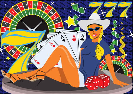 blondie: Abstract vector illustration of a young female on casino background