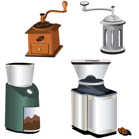 non alcoholic beverage: Collection of four coffee grinders isolated on white background Illustration