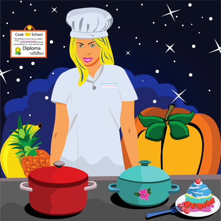Vector illustration of a young women professional cook in front of the table Vector