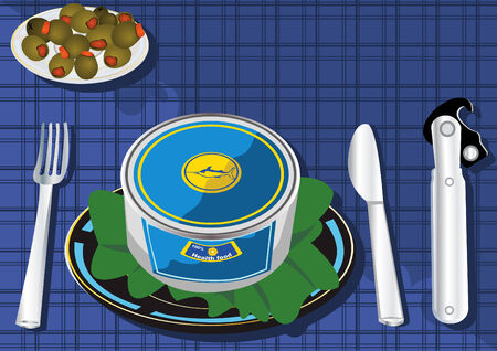 hermetic: Vector illustration of a can on a table with olives and facilities